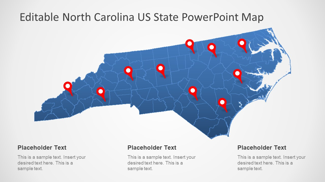 Editable PowerPoint Map Blue