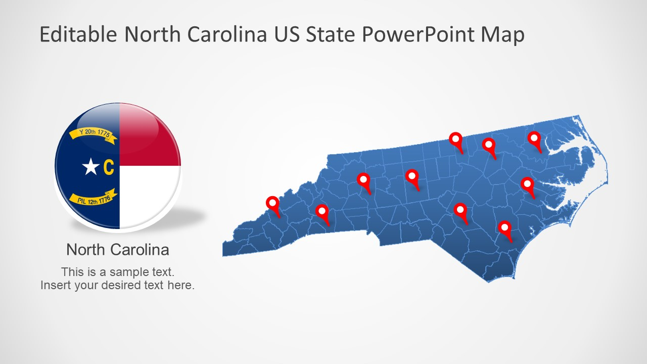 North Carolina Us State Powerpoint Map Slidemodel - North-carolina-map-of-us