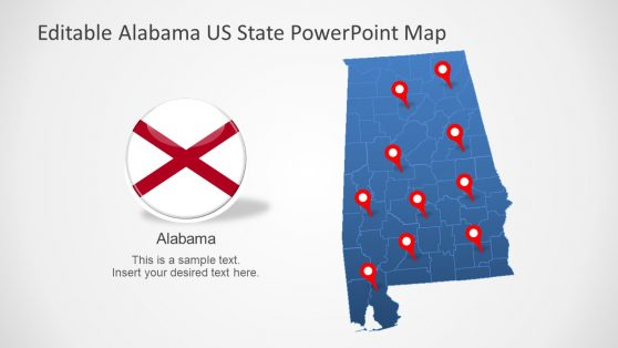 PowerPoint Map and Flag Alabama