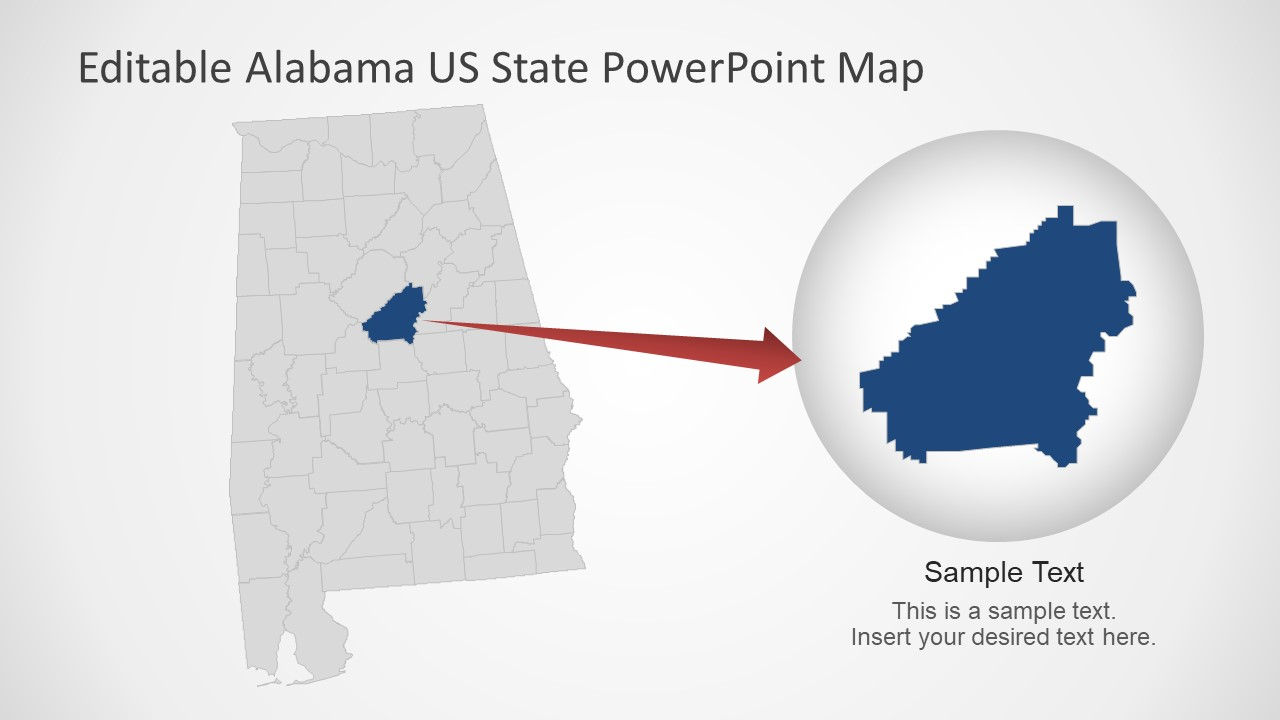 Highlight County in Alabama Map
