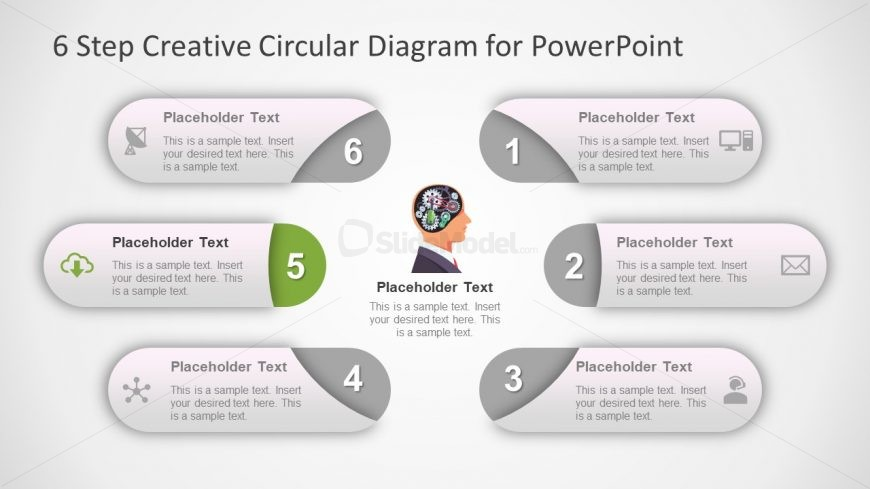Circular PowerPoint Brain 6 Steps