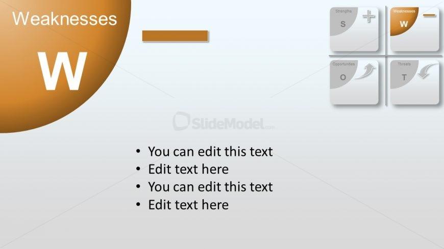 Flat Material PowerPoint Diagram Weakness