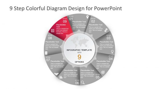 9 Step Colorful Process Cycle Design PPT