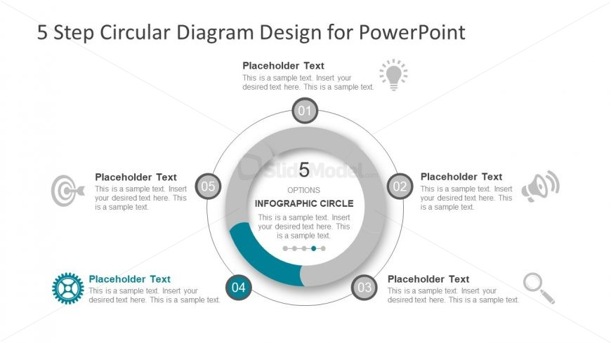 Slide of 5 Step Infographic Cycle