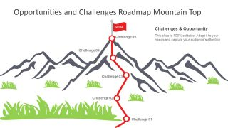 5 Step Mountain Challenges Metaphor Slide for PowerPoint
