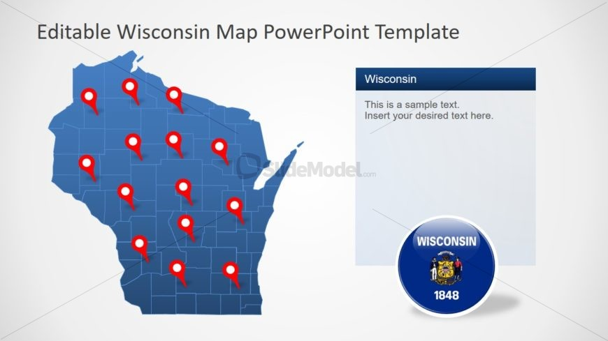 Location Pins for Wisconsin Counties