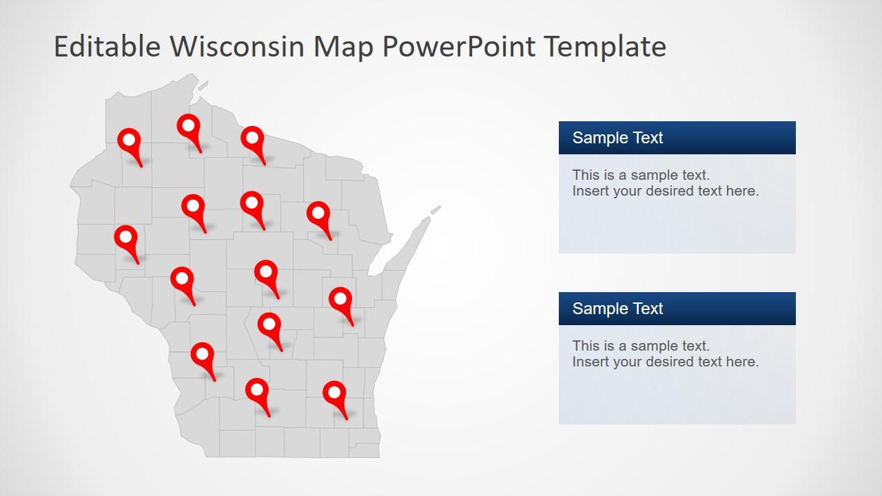 Slide of Wisconsin Editable Map