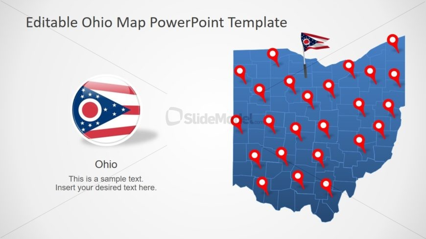 Flag of Ohio and Map