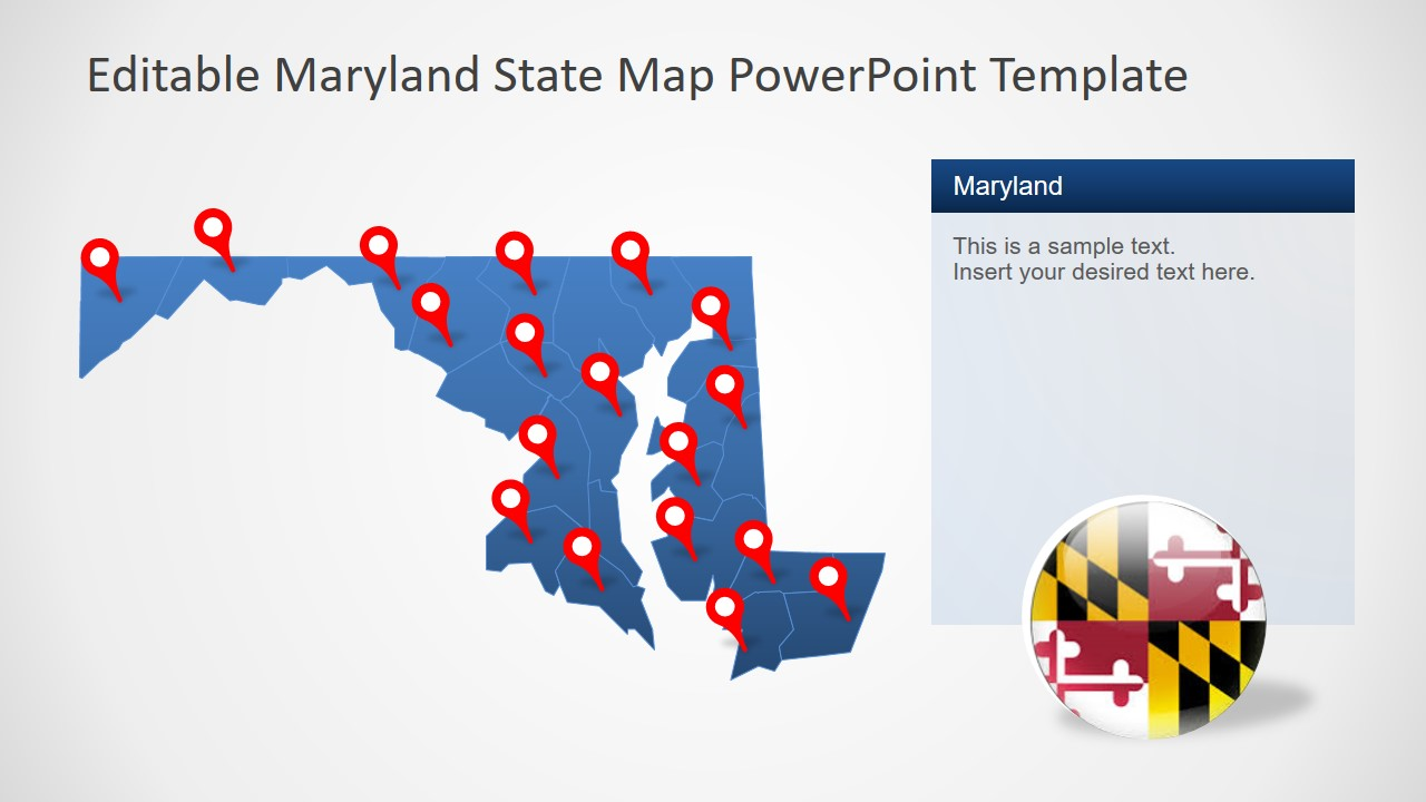 Maryland Map with Location Markers