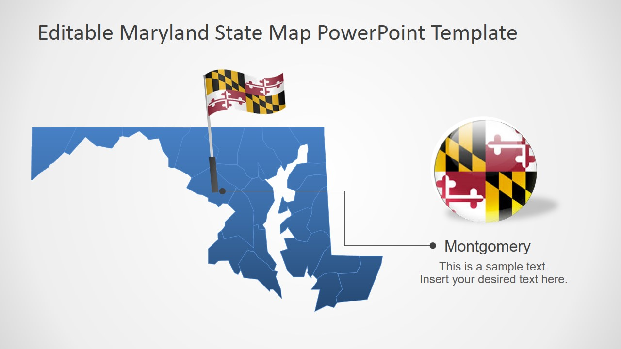Flat PowerPoint Map for USA State