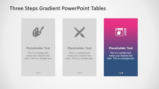 Gradient PowerPoint 3 Steps Template