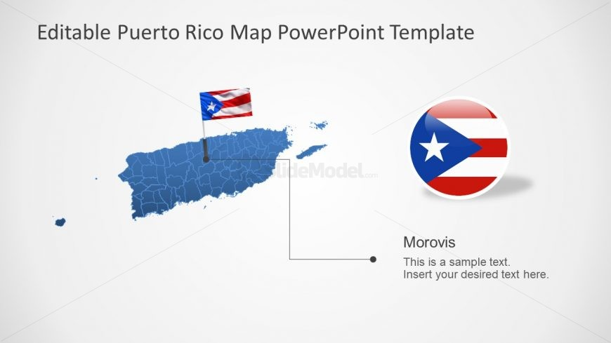Map and Flag of Puerto Rico
