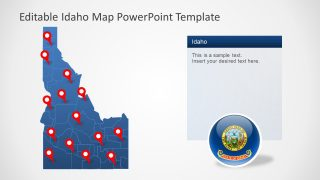 Location Pins and Map for Idaho
