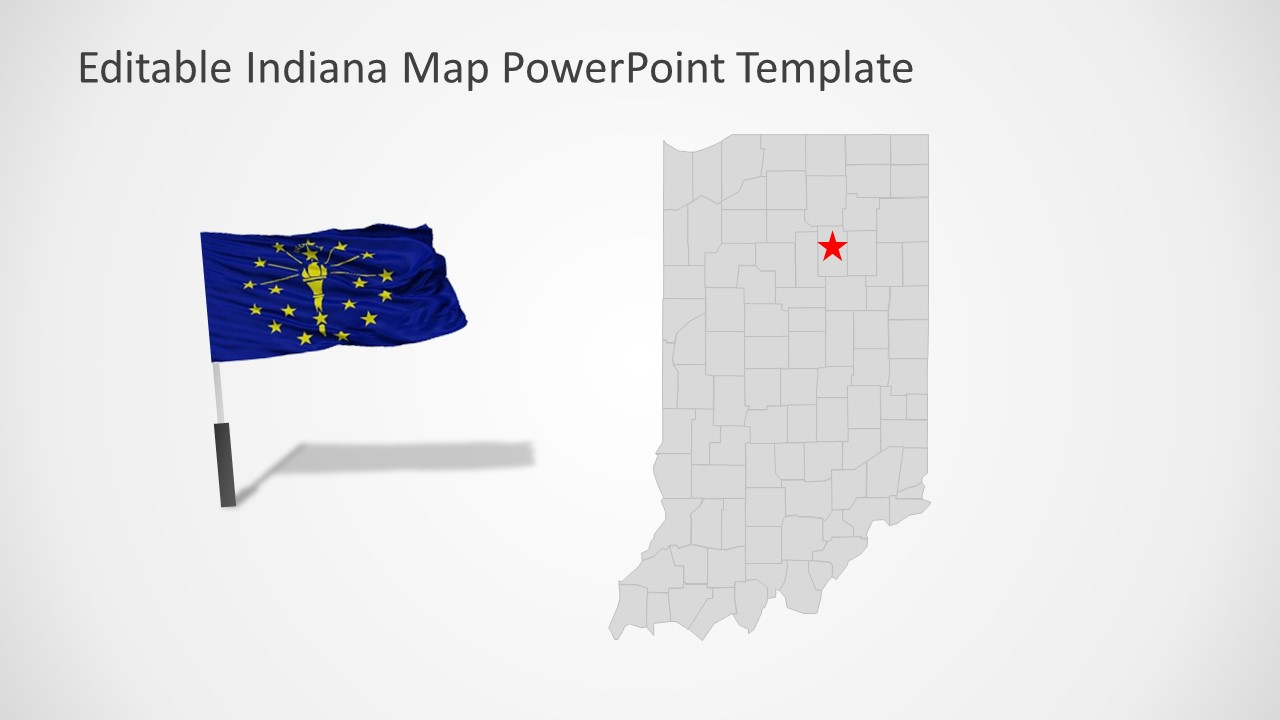Flag and Map of Indiana