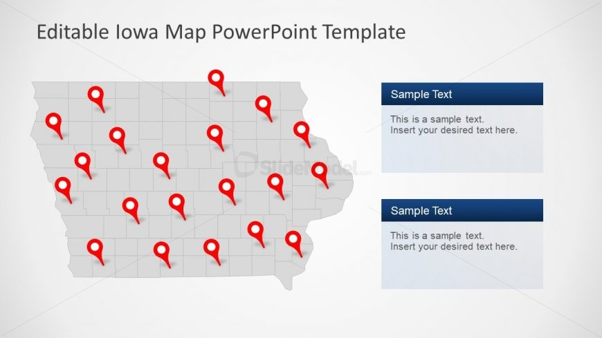 Editable Map of Iowa in PowerPoint