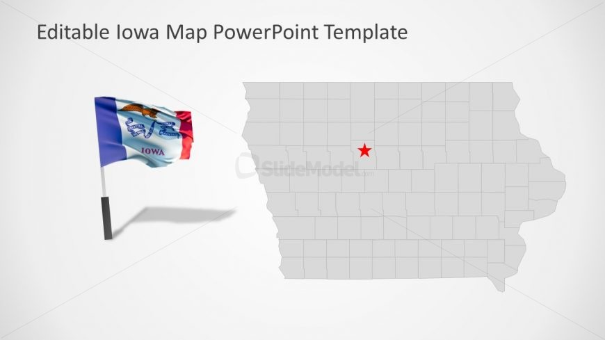 PowerPoint Editable Map of Iowa