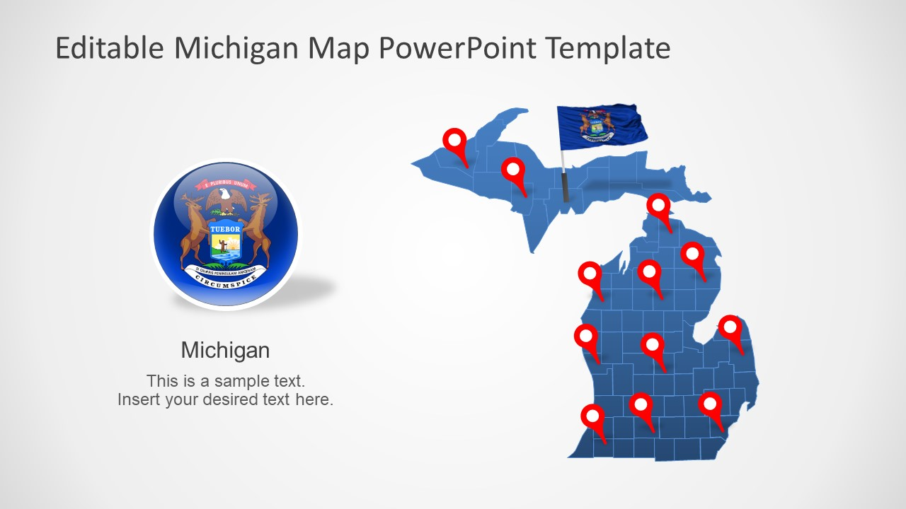Slide of Map and Flag of Michigan