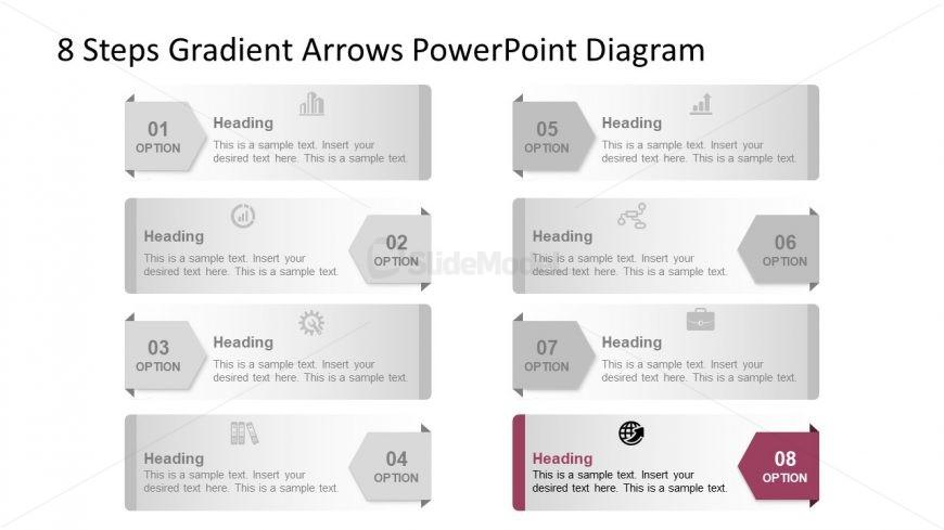 Template of 8 Arrow Highlight Diagram