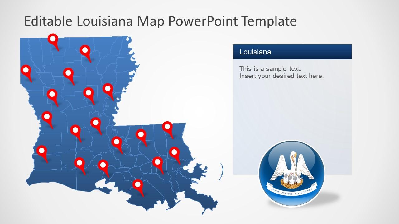 Silhouette Map Template of Louisiana