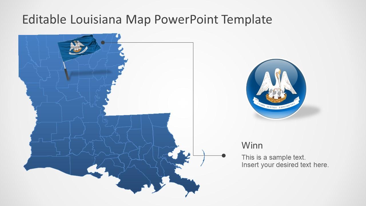 Editable Map Template Louisiana