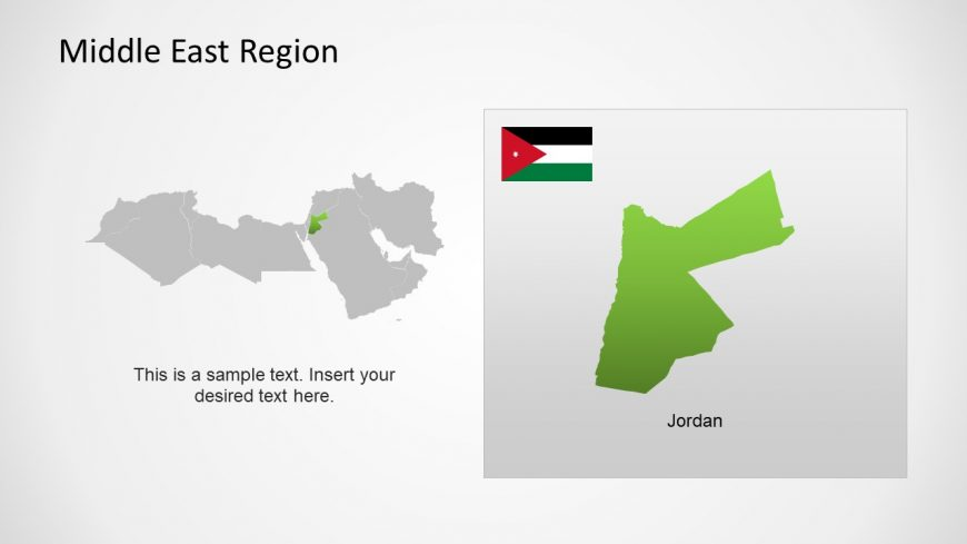 Silhouette Map of Jordan Middle East