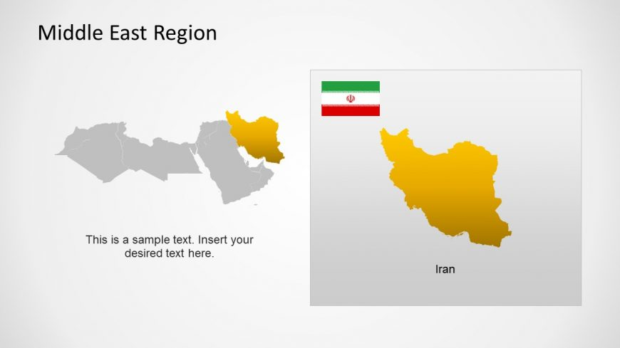 Silhouette Map of Iran Middle East