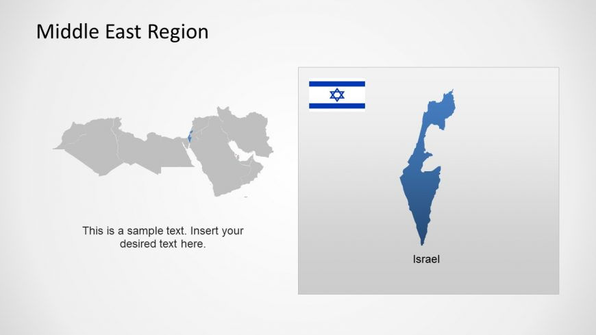 Silhouette Map of Israel Middle East