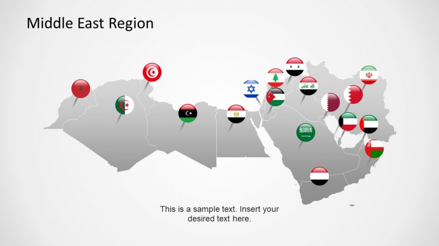 Editable Map Middle East and Flag GPS Markers