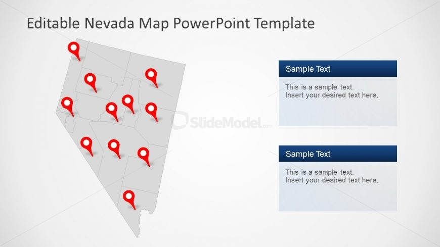 PowerPoint Map of Counties in Nevada