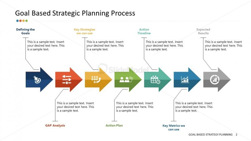 Process Timeline Chevron Diagram for Strategies