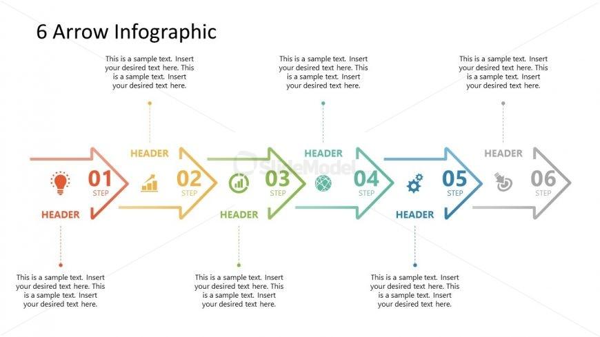 6 Arrows Milestone PowerPoint Timeline