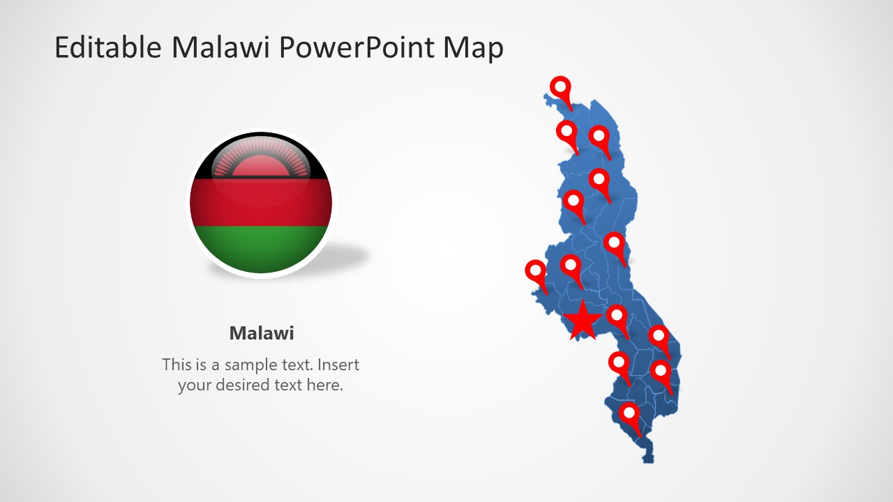 Editable Map of Malawi PPT