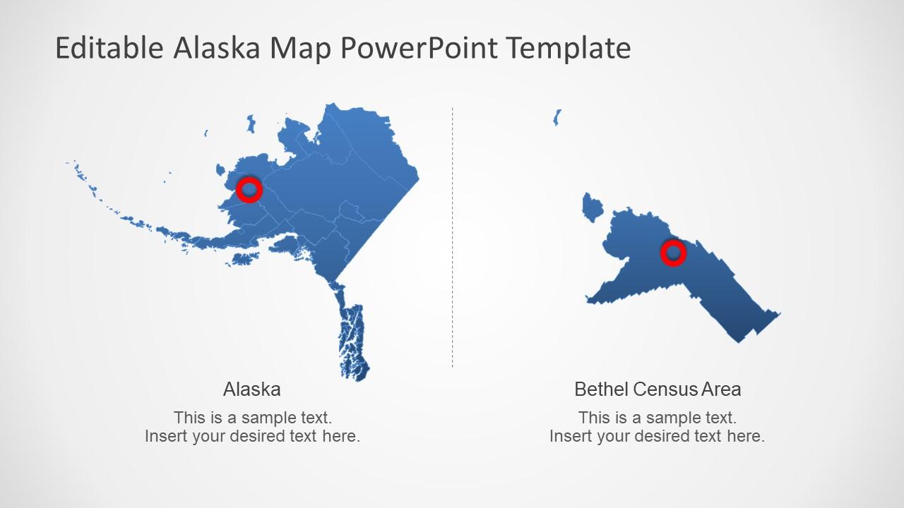 Blue Editable Map of Alaska in PowerPoint