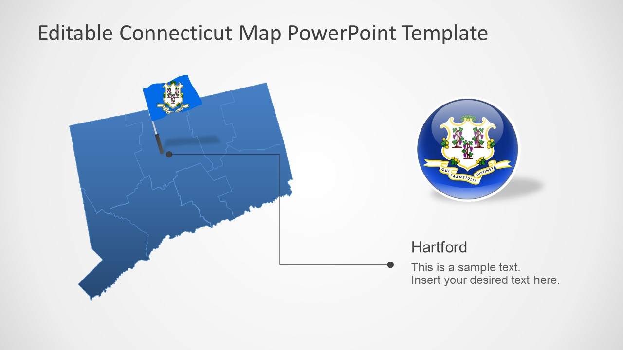 PowerPoint Connecticut Silhouette Map