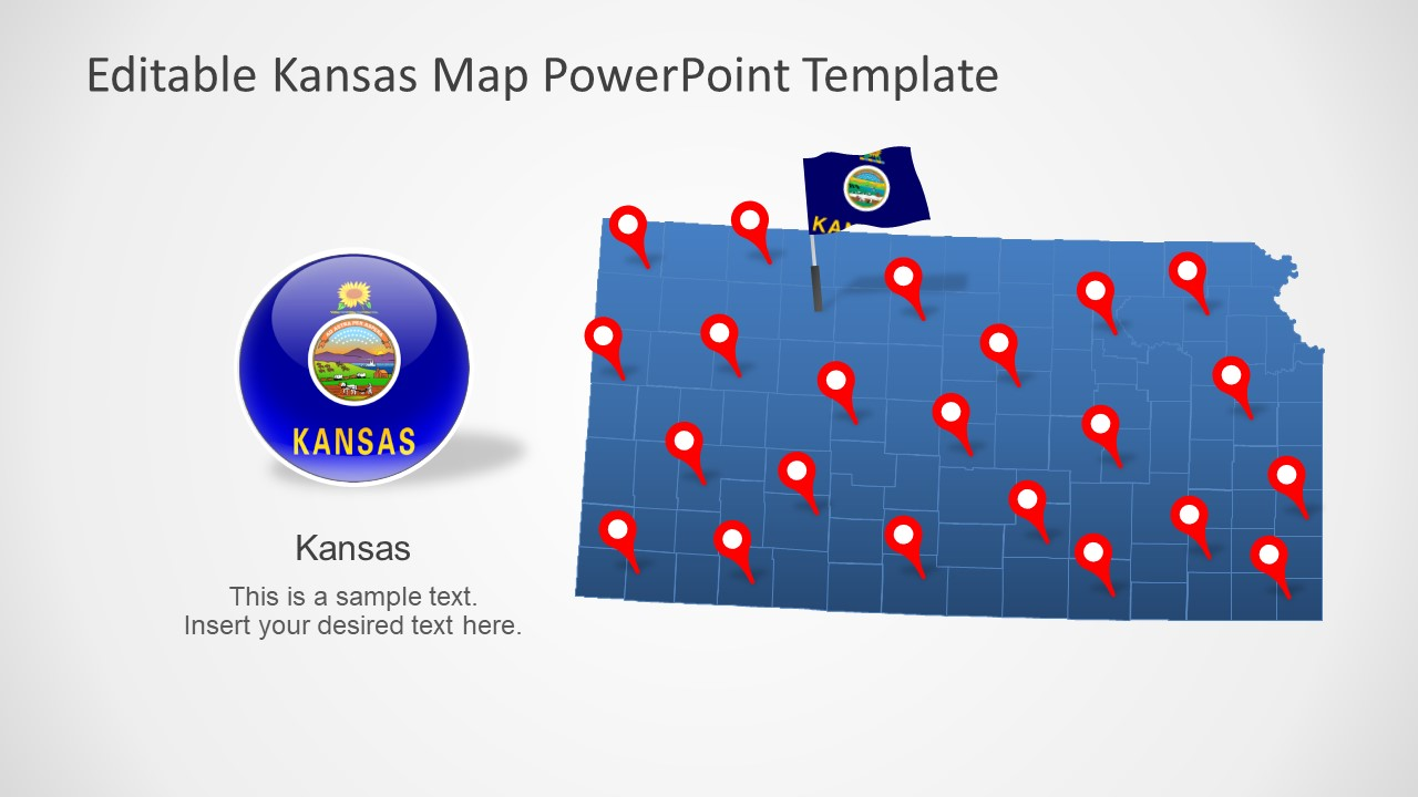 Blue Editable Map of Kansas