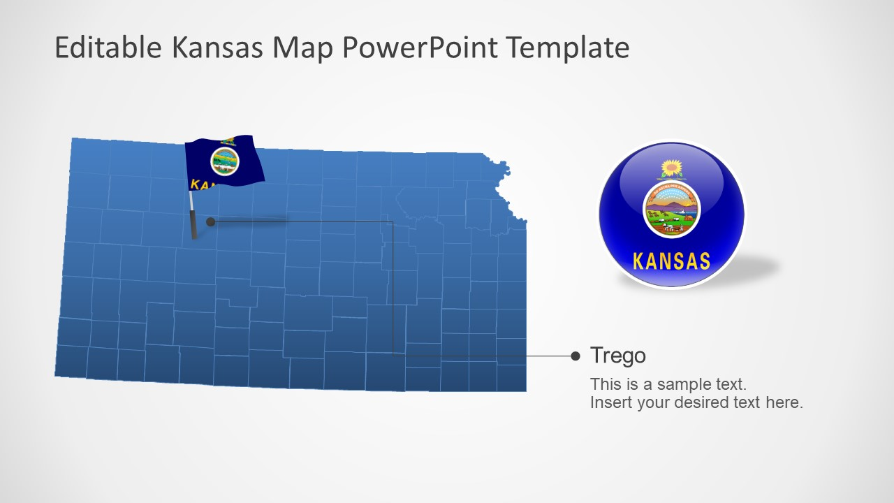 Map and Flag PowerPoint Kansas Template