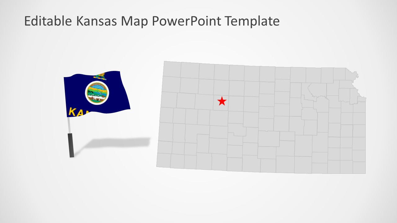 PowerPoint Map of USA State of Kansas