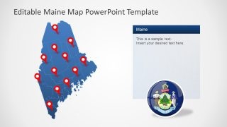 Blue Map of US State Maine