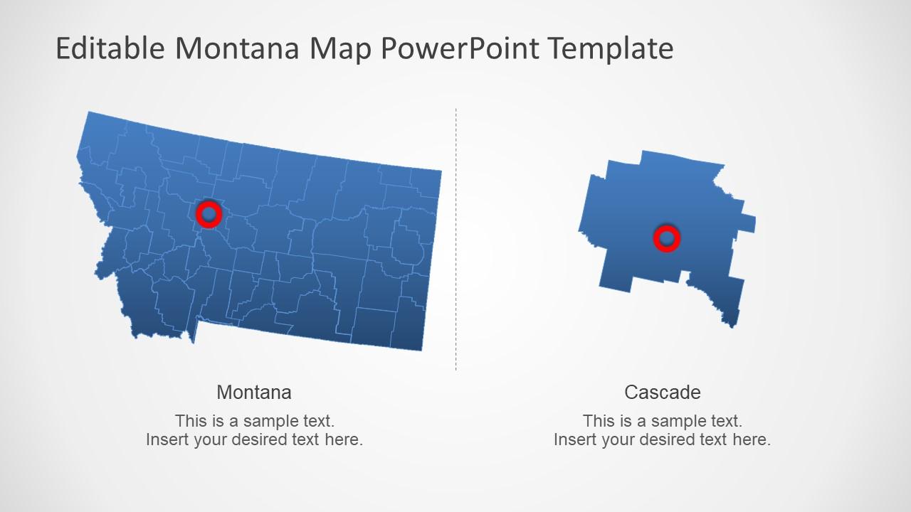 Blue Outline Map of Montana