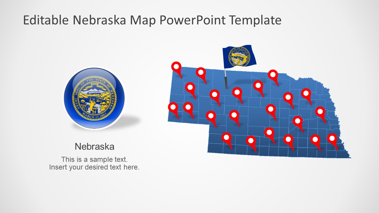 Editable Map of Nebraska in PowerPoint