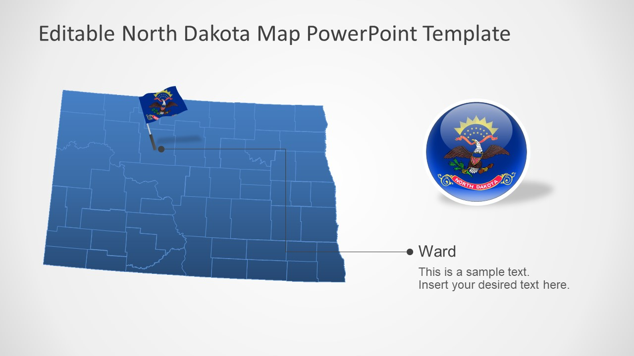 Flag and Map of North Dakota Outlined