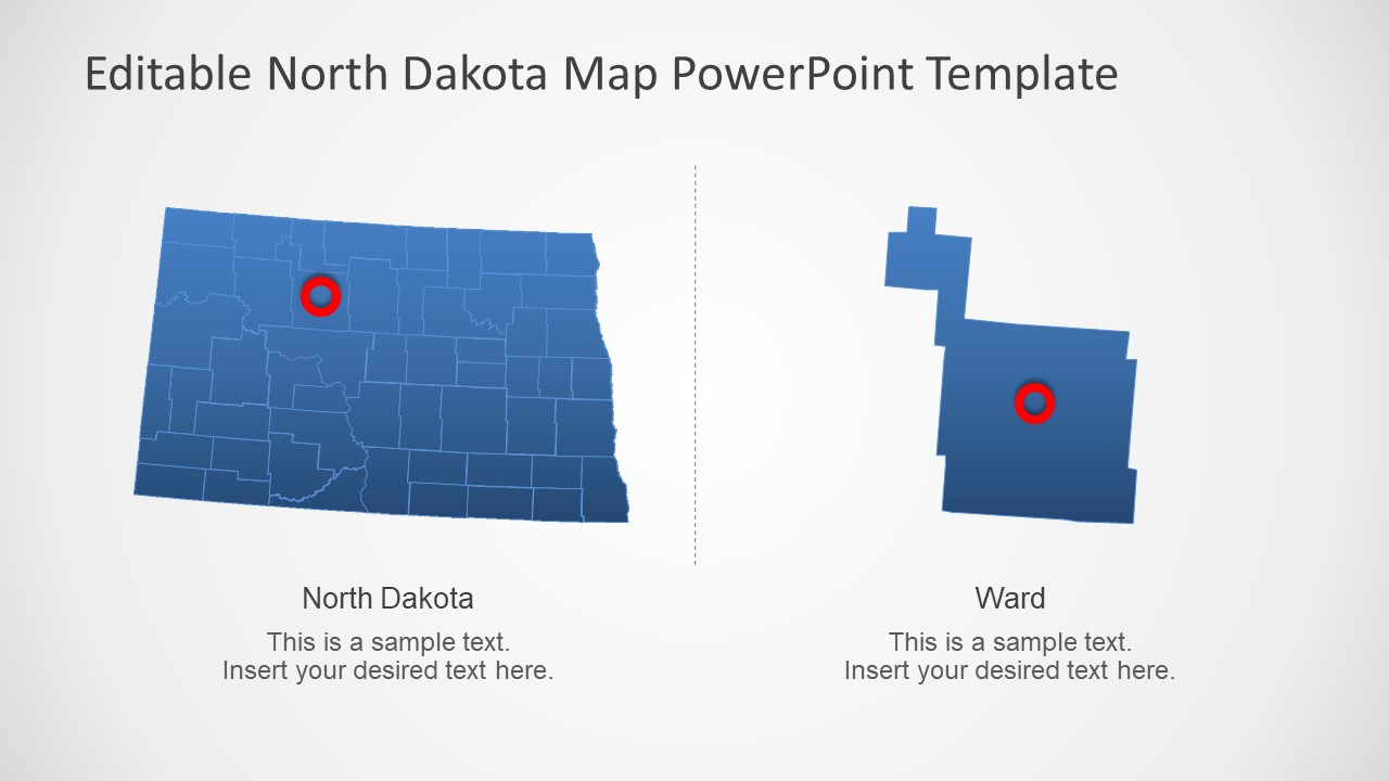 Map Template for North Dakota US State
