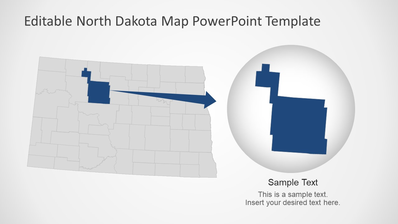 PowerPoint Flat Map of North Dakota