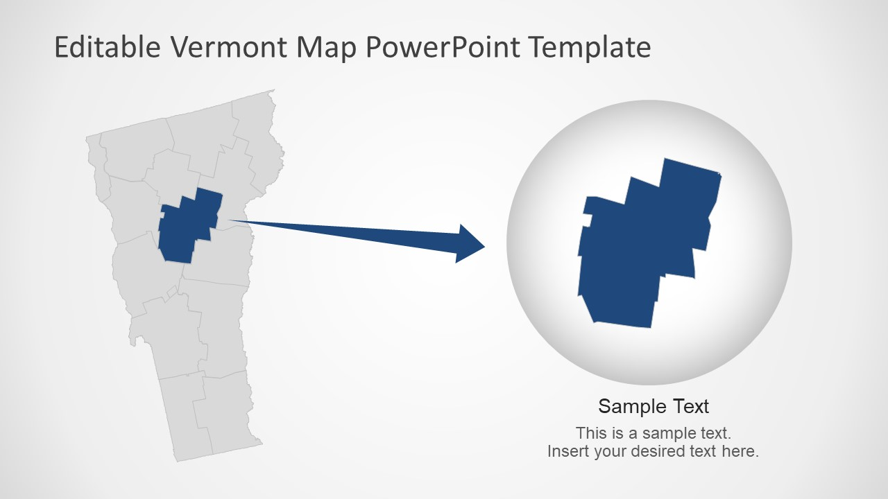 Editable Map Template of Vermont State