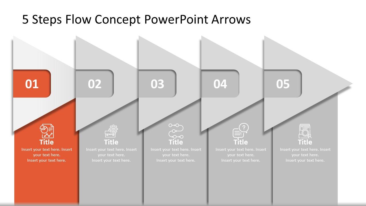 PowerPoint Diagram of 5 Steps Agenda