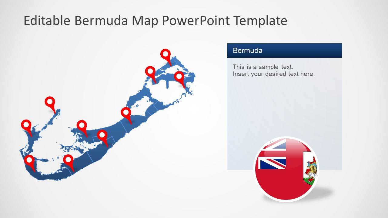 Blue Map of Bermuda with Location Markers