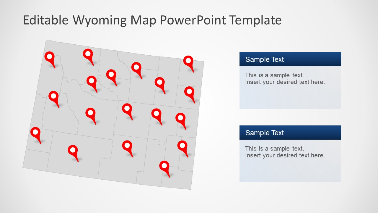 PowerPoint Map of Wyoming State