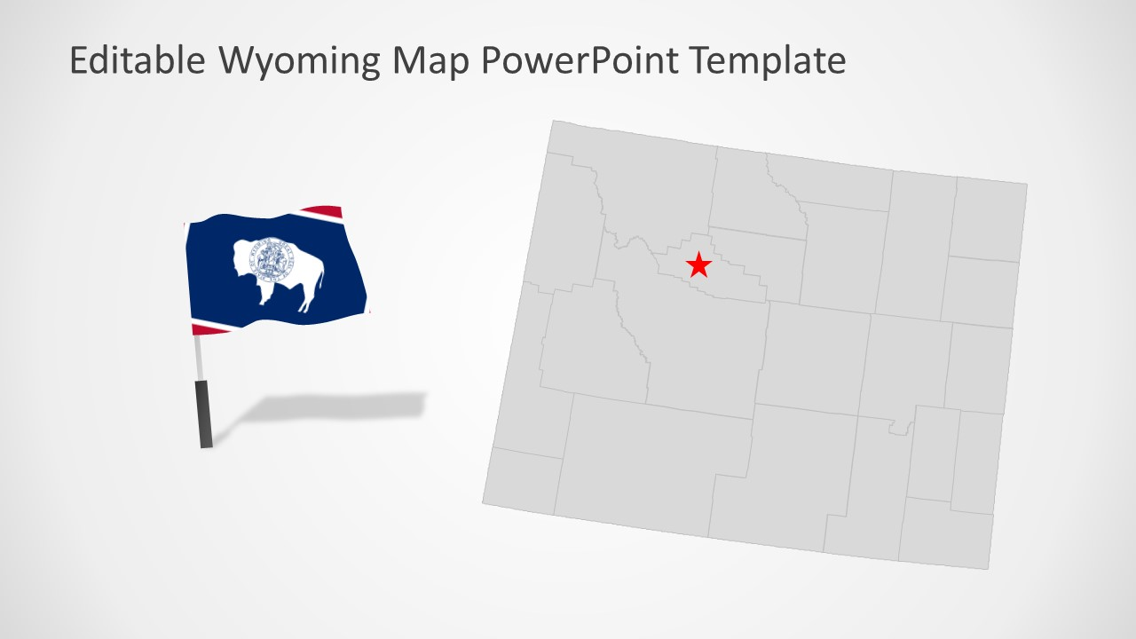 PowerPoint Editable Map Template for Wyoming