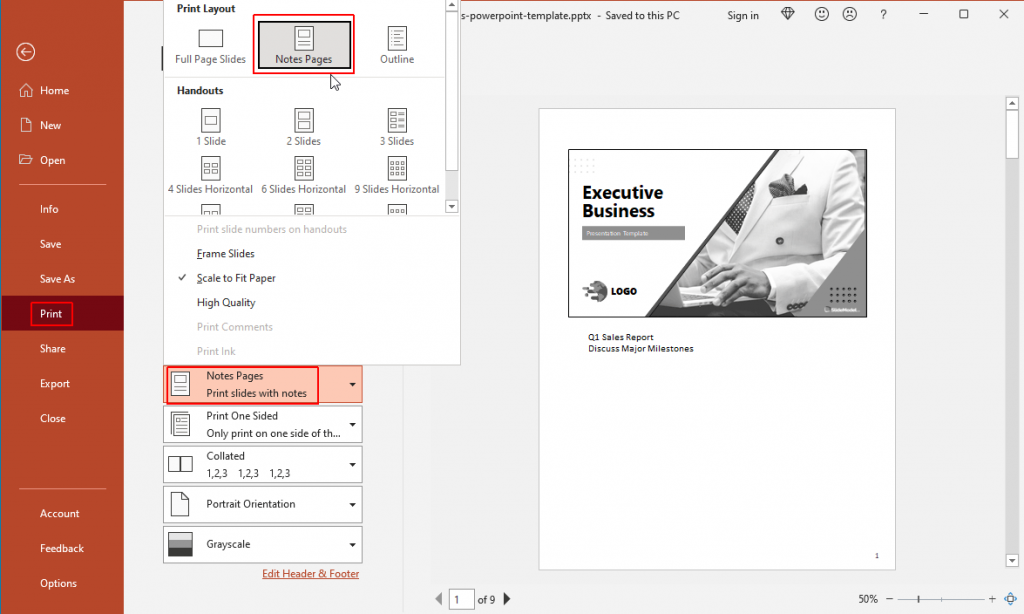 Print Speaker Notes in PowerPoint using different layouts