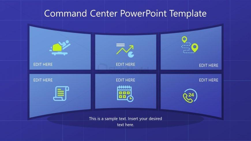 Slide of Flat Screens Command Center